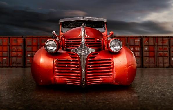 Картинка ретро, Dodge, классика, пикап, передок, pickup