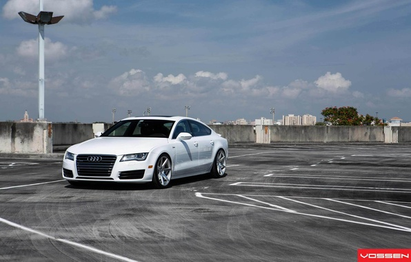 Картинка Audi, Ауди, Машина, Тюнинг, Белая, White, Tuning, Vossen