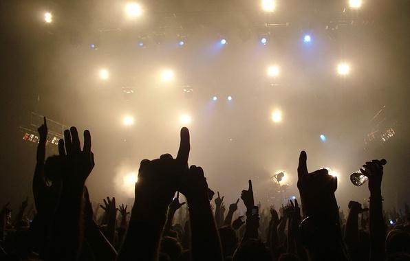 Картинка свет, музыка, руки, концерт
