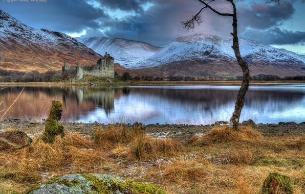 Картинка трава, снег, горы, тучи, озеро, камни, замок, дерево, пасмурно, берег, Шотландия, развалины, Kilchurn Castle