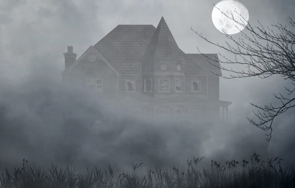 Картинка трава, туман, дом, дерево, луна, мрак, окна, разбитые