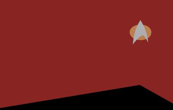 Картинка красный, минимализм, Star Trek, minimalism, Звёздный путь