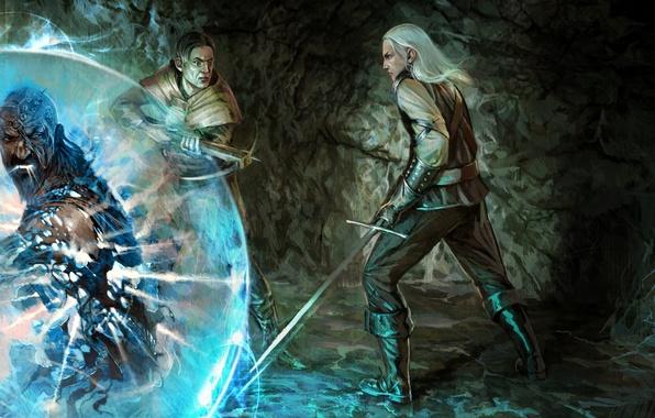 Картинка магия, меч, арт, the witcher, пещера, ведьмак, мужчины, колдун, арбалет