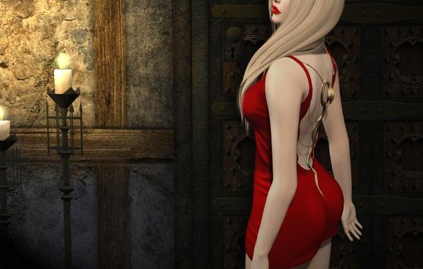 Обои девушки в красном