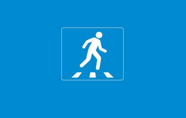 Картинка креатив, голубой, человек, минимализм, зебра, внимание, пешиходный переход, creative walls, дорожный знак