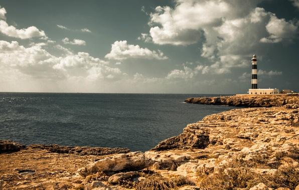 Фото обои море, лето, маяк, небо, солнечный, облака