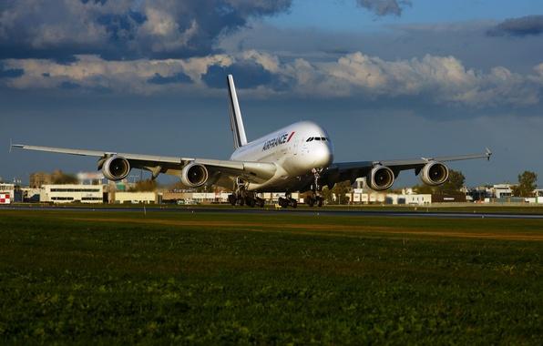 Картинка Небо, Облака, Трава, Самолет, Лайнер, Аэропорт, A380, Взлет, Airbus, Air France