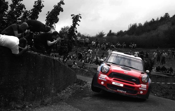 Картинка Красный, Авто, Спорт, Машина, Занос, Фары, Mini Cooper, WRC, передок, Rally, MINI, Мини Купер