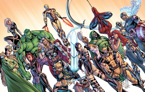 Картинка spider-man, бог, X-Men, Storm, wolverine, captain america, thor, hulk, iron man, Black Widow, marvel comics, …