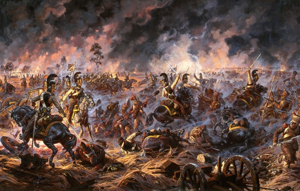 Фото обои война, солдаты, битва, русские, французы, 1812