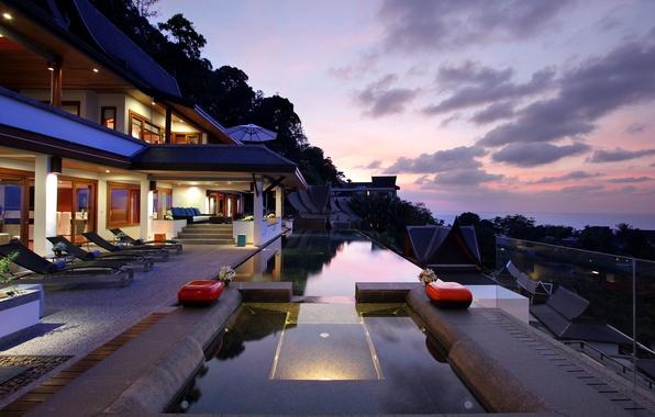 Картинка море, облака, деревья, дом, зонтик, диван, вилла, бассейн, джакузи, балкон, house, pool, столик, лежаки, home, …