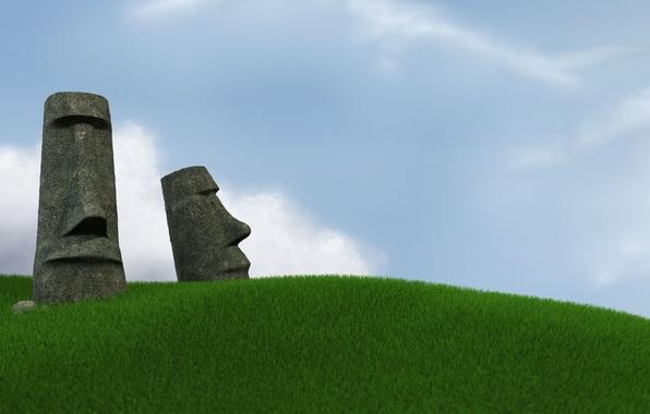 Картинка Небо, Трава, остров Пасхи, Статуи