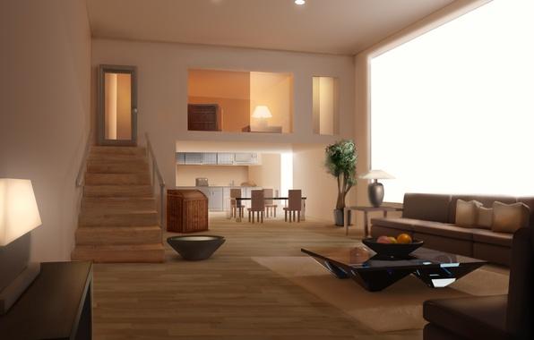 Картинка комната, диван, интерьер, арт, лестница, ступеньки, фрукты, столик