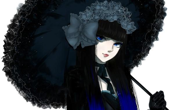 Картинка девушка, зонт, бант, art