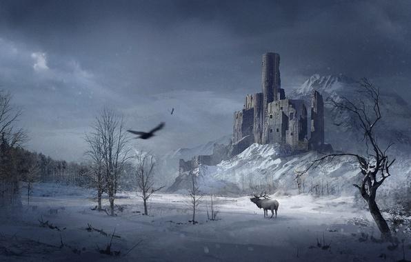 Картинка зима, лес, снег, деревья, замок, птица, гора, ворон, ворона, лось