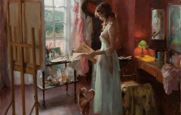 Картинка кошка, девушка, стол, комната, лампа, картина, утро, зеркало, окно, арт, газета, мастерская, простынь, мольберт, Vicente …