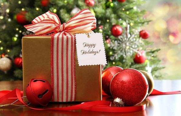 Картинка шарики, украшения, огни, праздник, рождество, подарки, Новый год, ёлка, гирлянды, новогодняя, елочные, декорация