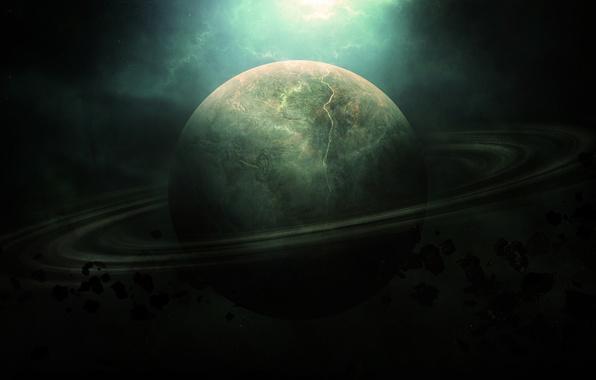 Картинка космос, Сатурн, метеориты