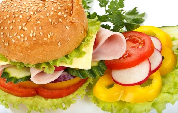 Картинка сыр, лук, перец, овощи, помидоры, гамбургер, булка, огурцы, кунжут, фаст фуд, fast food, ветчина