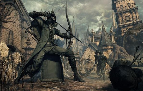 Картинка город, лук, крепость, охотник, Bloodborne