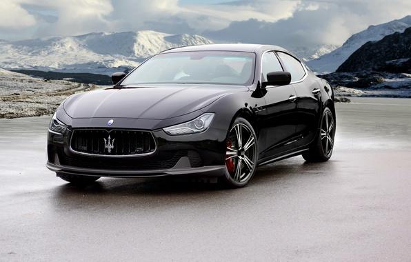 Картинка черный, Maserati, Black, мазерати, Mansory, Ghibli