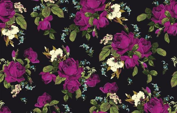 Картинка цветы, фон, розы, текстура, rose, принт, pattern, floral