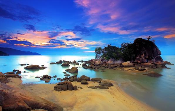 Картинка море, небо, облака, деревья, закат, скала, камни, зарево