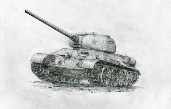 Фото шпалеры карандашный рисунок, Советский танк, Т-34