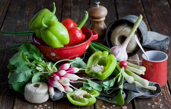 Картинка еда, food, чеснок, pepper, редиска, Anna Verdina, garlic, radishes, сладкий перец