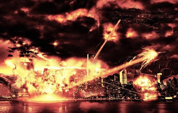 Картинка город, война, корабли, космические