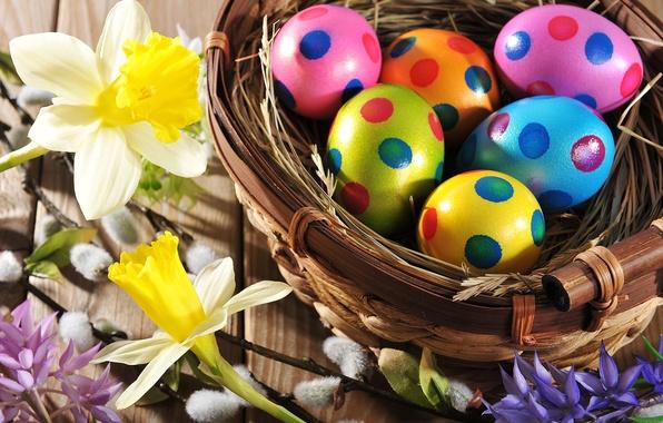 Картинка цветы, яйца, весна, colorful, Пасха, happy, wood, flowers, spring, Easter, eggs, holiday