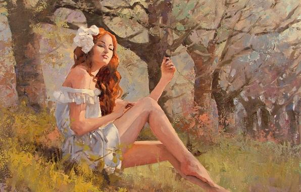 Картинка трава, взгляд, девушка, деревья, природа, рыжая, живопись, сидит