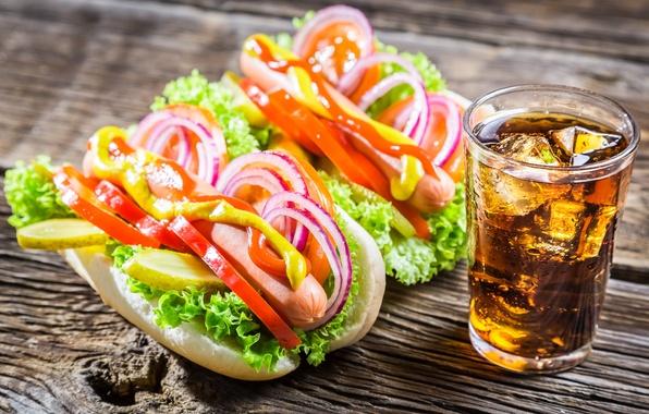 Картинка лед, сосиски, лук, перец, овощи, кола, огурцы, бутерброды, sandwiches, pepper, vegetables, sausages, tomato, горчица