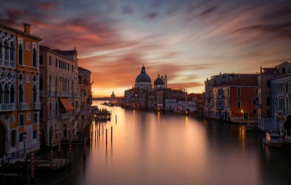 Картинка свет, ночь, город, огни, дома, вечер, выдержка, Италия, Венеция, Гранд-канал (Большой канал)