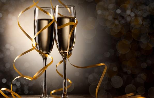Картинка ленты, праздник, Рождество, Happy New Year, Christmas, Merry Christmas, holiday, ribbon, champagne, Рождеством, шампанского, с …