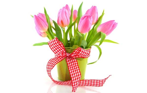 Картинка цветы, букет, лента, тюльпаны, ваза, fresh, pink, flowers, tulips