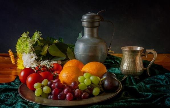 Картинка цветы, ягоды, кружка, кувшин, фрукты, натюрморт, томаты