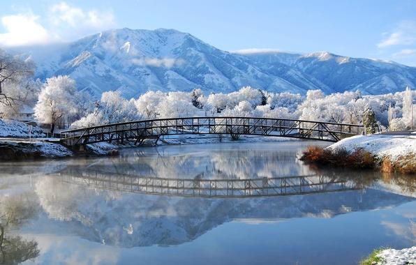 Картинка зима, иней, снег, горы, мост, река, Природа