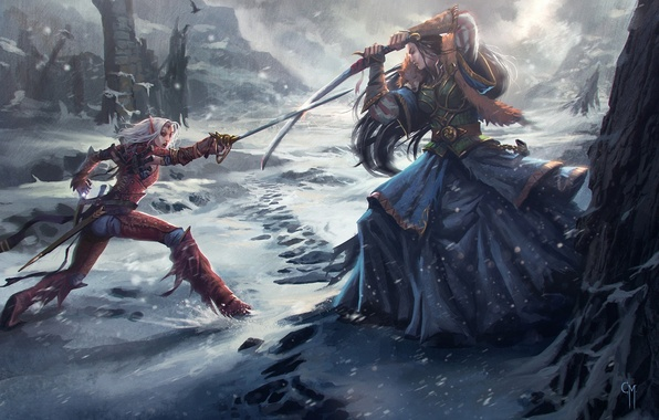 Картинка снег, девушки, меч, арт, битва, эльфийка