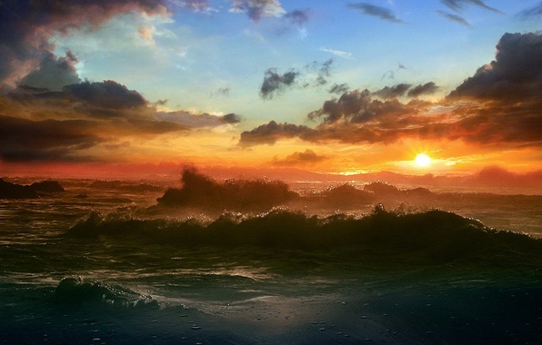 Картинка море, солнце, облака, Волны