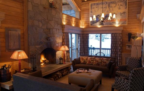 Картинка дизайн, ретро, диван, интерьер, картина, люстра, камин, гостиная
