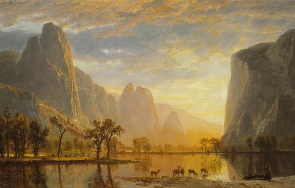Картинка животные, пейзаж, горы, озеро, картина, Долина Йосемити, Альберт Бирштадт