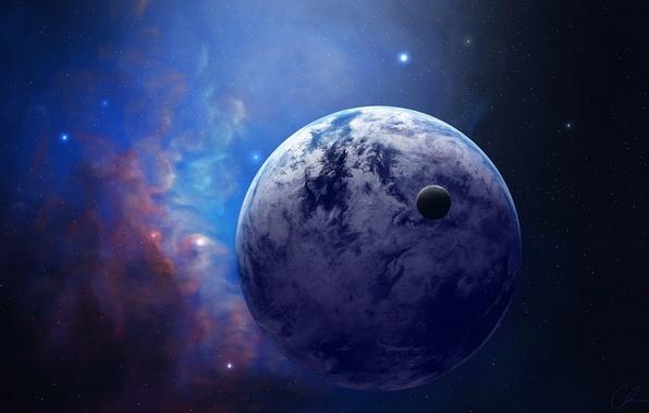 Картинка космос, звезды, туманность, планета, спутник, арт