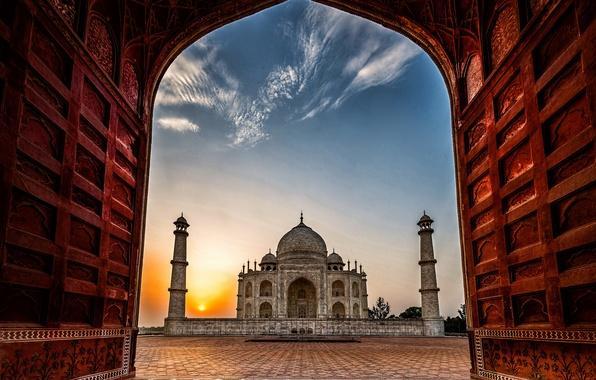 Картинка рассвет, Индия, Тадж-Махал, мечеть, мавзолей, Агра, Taj Mahal, Agra, India