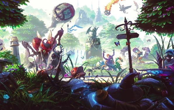 Картинка лес, трава, деревья, фэнтези, арт, жуки