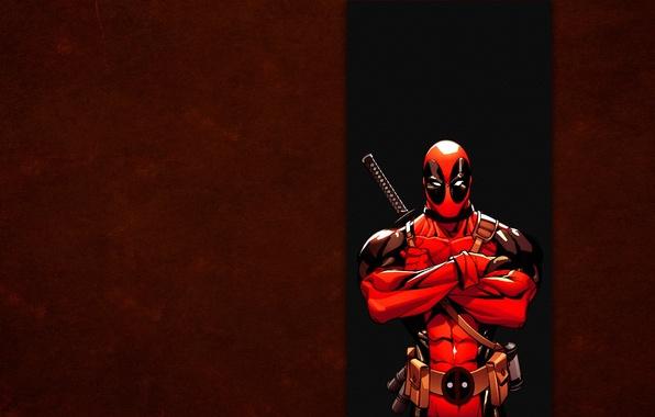 Картинка красный, полоса, marvel, Deadpool, Дэдпул, комикс, Wade Wilson