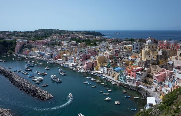 Картинка море, побережье, здания, бухта, лодки, порт, Италия, катера, набережная, Italy, Campania, гавань, Неаполитанский залив, Кампания, …