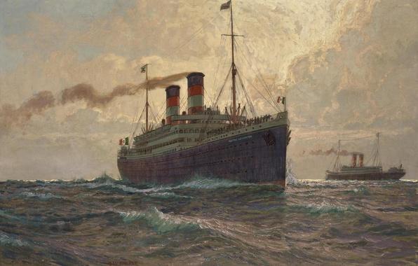 Картинка море, волны, трубы, дым, корабль, пассажиры, теплоход, albert emil kirchner