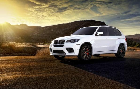 Картинка BMW, white, wheels, tuning, X5M, frontside