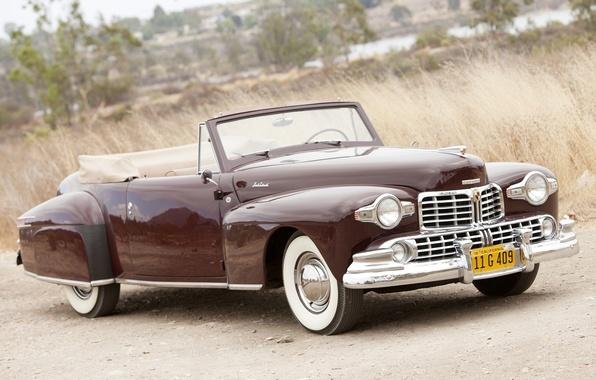 Картинка Lincoln, ретро, фон, Continental, кабриолет, передок, бордовый, 1947, Cabriolet, Линкольн.Континенталь, дорога.трава